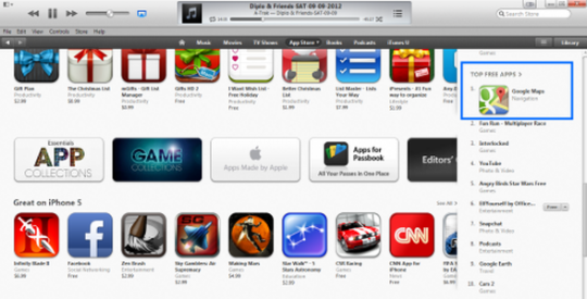 Google Maps Top Free App on Apple iTunes