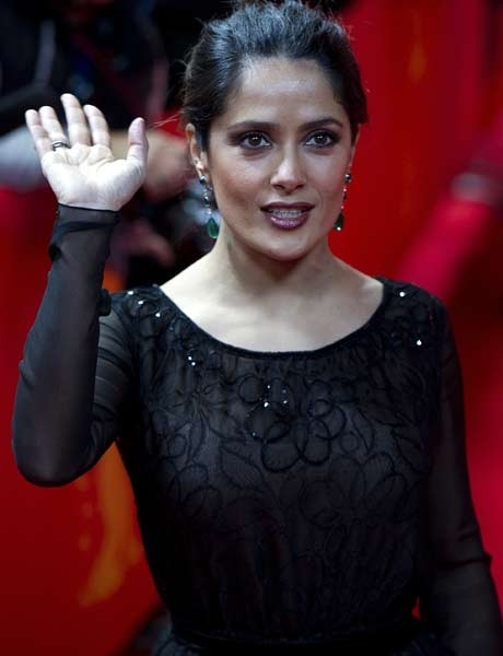 Salma Hayek, who bared all by wearing a frock featuring numerous see-through panels at the CAA pre-Oscar party, was a sight for sore eyes.