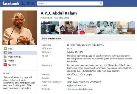 Kalam arrives on Facebook