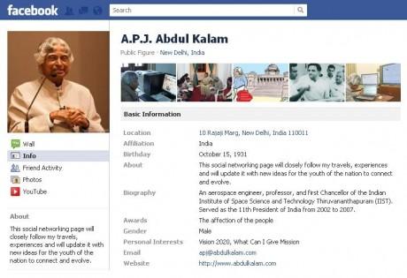 Kalam arrives on Facebook