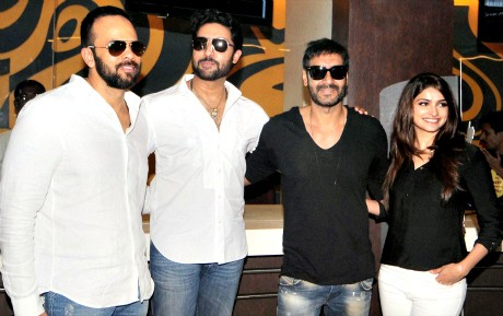 Rohit Shetty and actors Abhishek Bachchan, Ajay Devgn and Prachi Desai