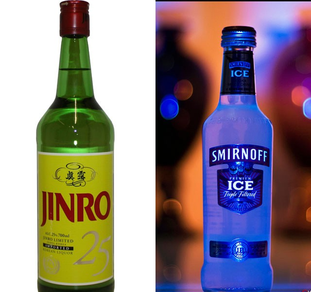 Jinro (soju) - 61.38 m cases and Smirnoff (vodka) - 24.70m cases