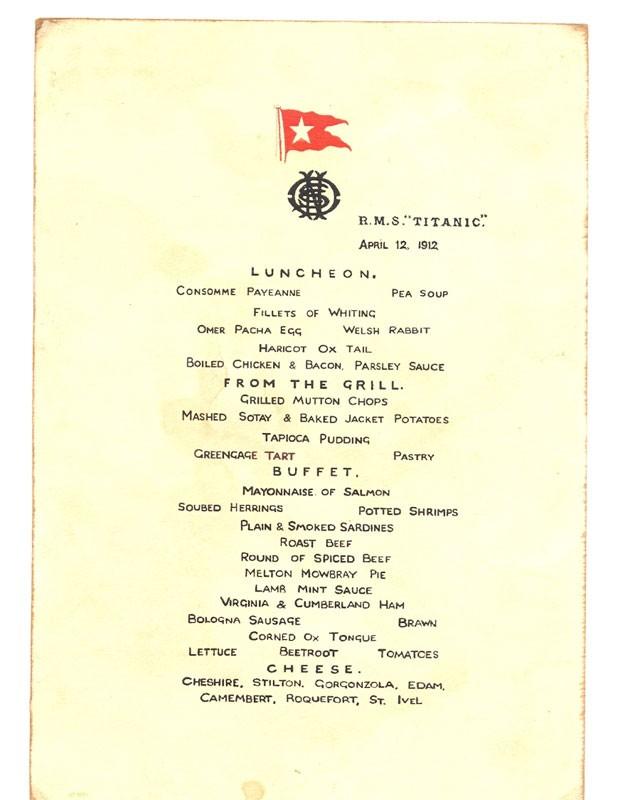 Lunch menu card