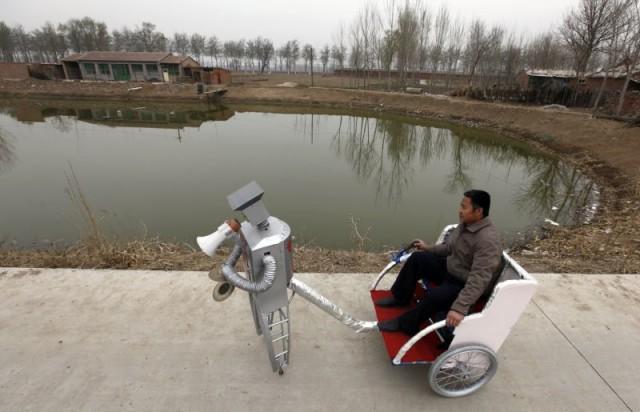 Robot-operated cart
