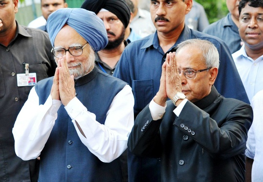 Manmohan Singh and Pranab Mukherjee
