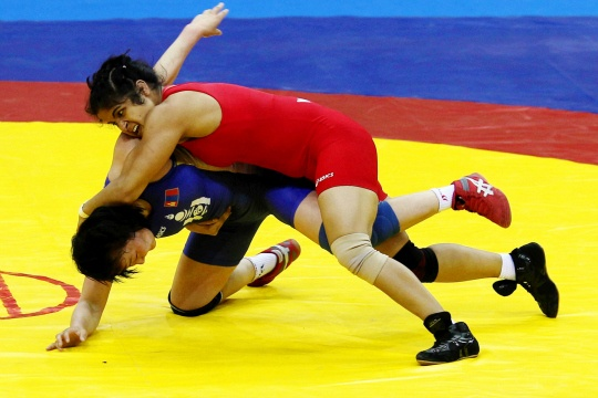 Silver for Navjot Kaur at Asian Wrestling