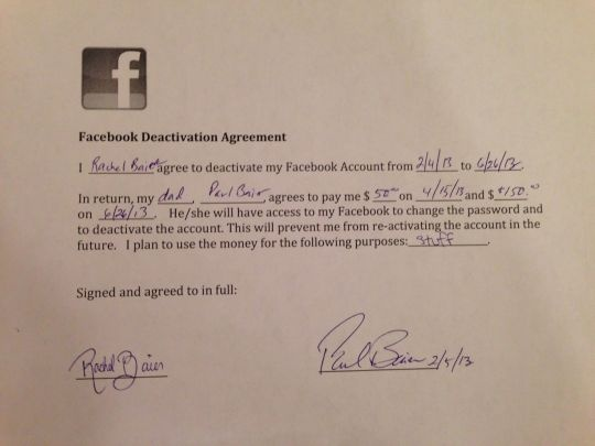 dad bribes daughter to quit facebook
