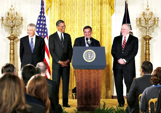 Barack Obama, John Brennan, Chuck Hagel, Leon Panetta