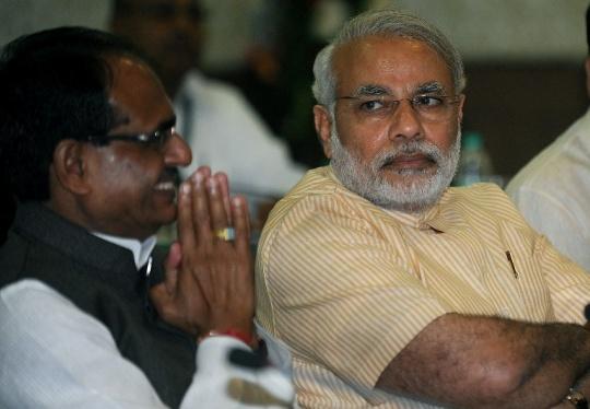 Narendra Modi and Shivraj Singh C