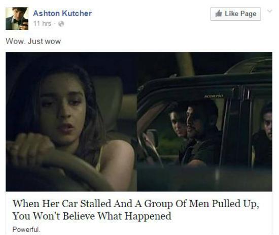 Ashton Kutcher post about alia bhatt on facebook