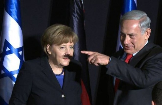 Benjamin Netanyahu with Angela Merkel