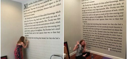 A Crazy Harry Potter Fan Painted The Entire First Page Of The Novel On Her Room's Wall!