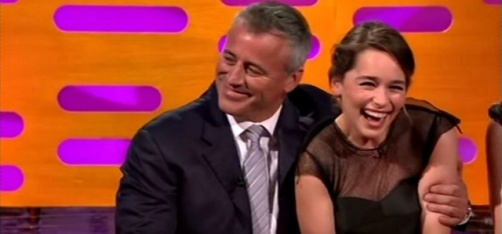 Watch Khaleesi Blush And Giggle Like A Little Girl When Joey Asks Her 'How You Doin'?'