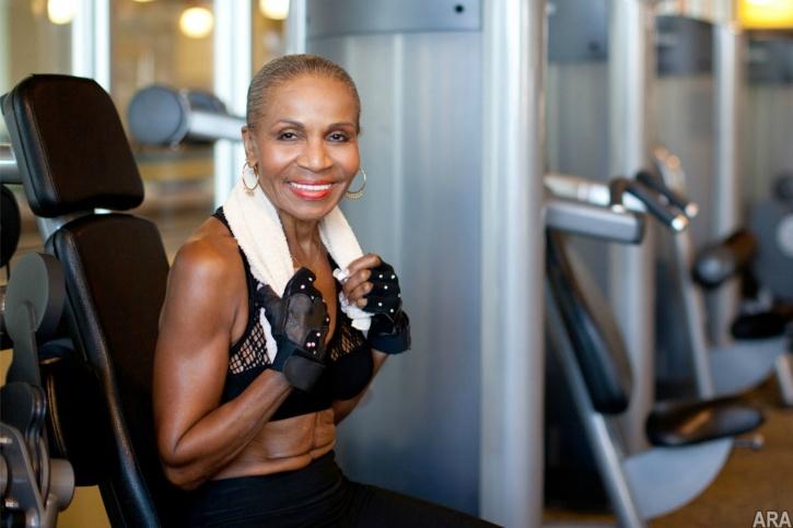 Ernestine Shepard in the gym