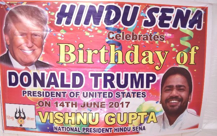 Trump's 71st birthday and the cake weighed 7.1 Kgs Hindu sena celebrated