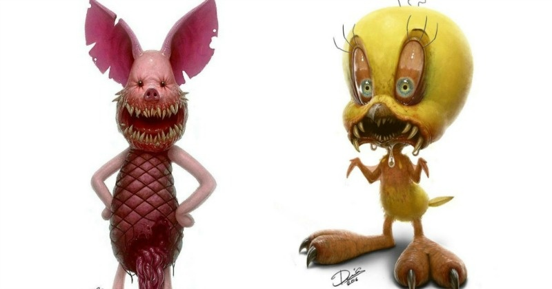 8 Disturbing Cartoon Characters : Artist turns our favourite childhood characters into