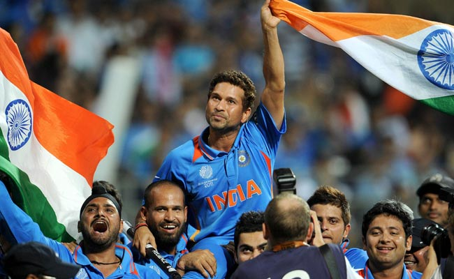 Sachin Tendulkar is carried on his teammates shoulders after India defeated Sri Lanka in the ICC Cricket World Cup 2011 final played at The Wankhede Stadium in Mumbai on April 2, 2011.