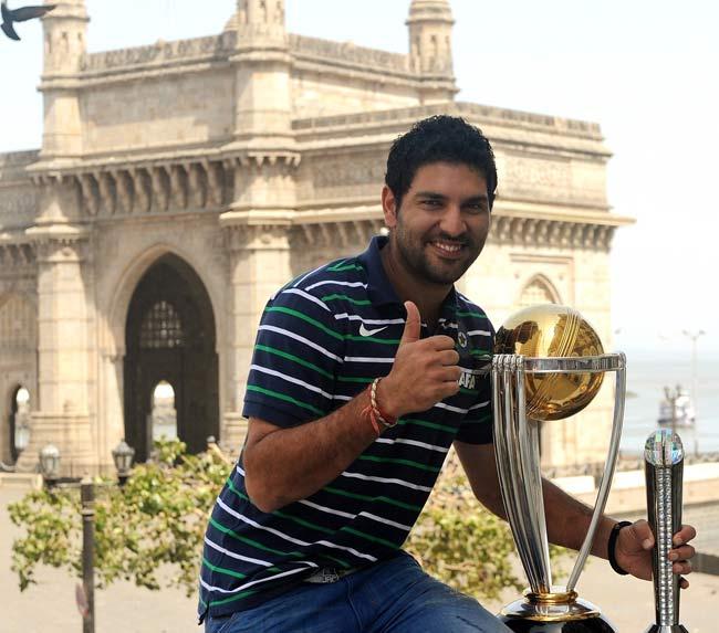 Yuvraj Singh poses