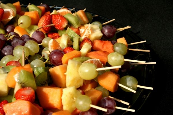 Fresh fruit kebabs with tangy lemony dip