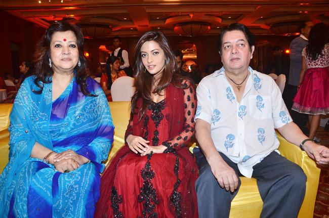 Munmun Sen with husband Bharat Dev Varma, and daughter Riya