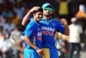 Indian cricketer Ashok Dinda (L)