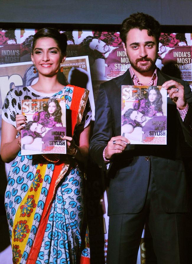 Sonam Kapoor and Imran Khan pose during the unveiling of the third anniversary edition of Star Week magazine in Mumbai on 8th August.