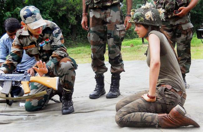 Bollywood actress Deepika Padukone visits an Army camp at Satwari in Jammu.
