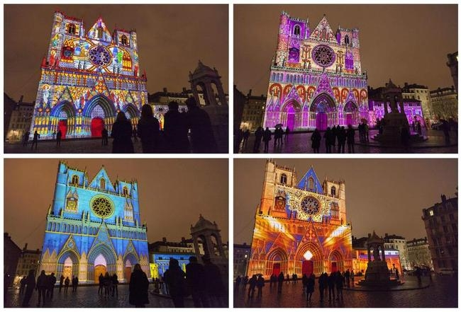 Combo picture shows Les Chrysalides de Saint-Jean installation by artist Damien Fontaine during the rehearsal for the