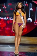 Miss Jamaica 2012 Zaky competes during the Swimsuit Competition of the 2012 Miss Universe Presentation Show at PH Live in Las Vegas