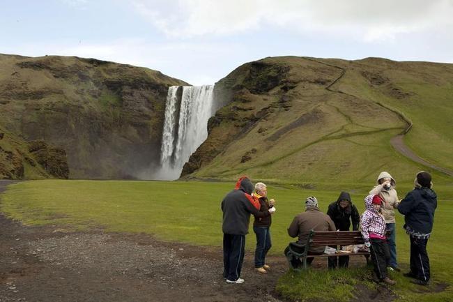 Waterfall in Skogarfoss, Iceland