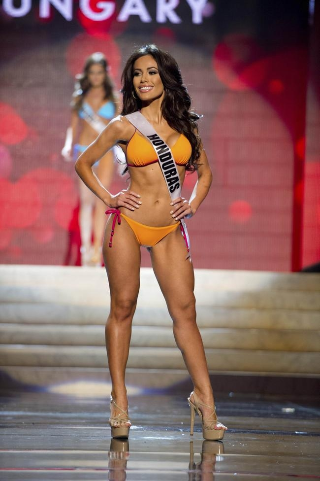 Miss Honduras 2012 Andrade competes during the Swimsuit Competition of the 2012 Miss Universe Presentation Show at PH Live in Las Vegas