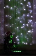 A child looks at lights in Usaquen Park during the annual Festival de Navidad celebrations in Bogota