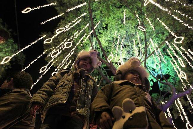 People look at illuminated tree in Usaquen Park during Festival de Navidad celebrations in Bogota