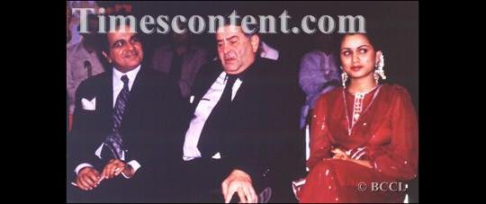 Dilip Kumar (L) with legendary actor and filmmaker Raj Kapoor and actress Padmini Kolhapure at Filmfare Award function held in Bombay on September 29, 1983.
