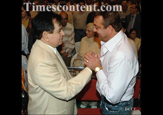 Dilip Kumar with Sanjay Dutt at a Mehboob Khan memorial event.
