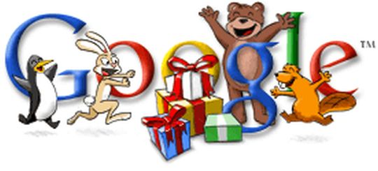 Happy Holidays from Google 2002: The second Happy Holidays doodle features lots of toys scattered under the O of Google and animated characters like teddy bears, penguins and rabbits expressing joy.