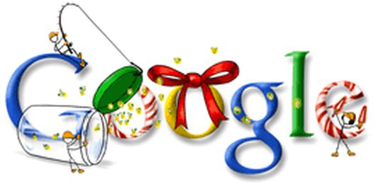 Happy Holidays from Google 2007: The final doodle in Google Doodle's 2007 Christmas series shows a brightly decorated Google logo. Decorations include Candy sticks, ribbons and a jar for sweets.