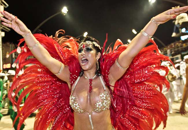 A reveller takes part in the opening night of the Carnival celebrations in Sao Paulo.