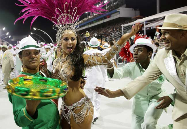 Dancers perform during the Carnival parade in Sao Paulo.