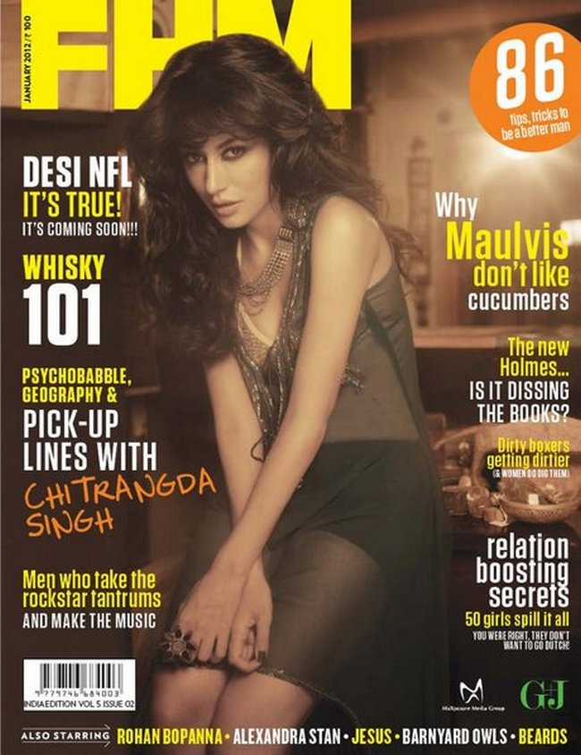 Chitrangadha sizzles on the cover of a men's magazine in this sexy, transparent, black number.