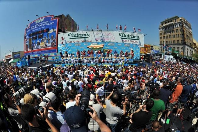 Men compete during Nathan's Famous Fourt