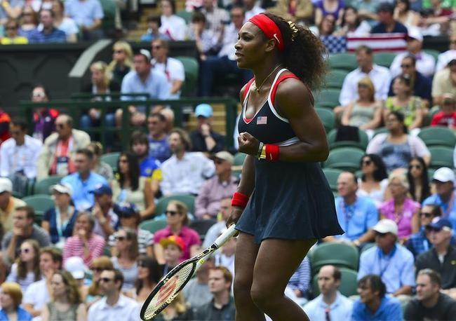 Serena Williams of the US celebrates aft