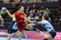 Montenegro's Milena Knezevic (L) jumps t