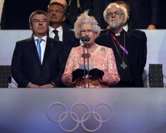 Britain's Queen Elizabeth declares the London 2012 Olympic Games open