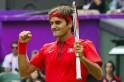 Switzerland's Roger Federer celebrates a