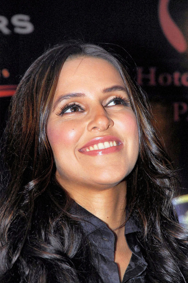Neha Dhupia at press meet during a Magical Nights city fashion tour in Patna on 9th July