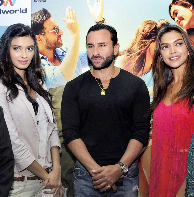 Saif Ali Khan, Deepika Padukone and Diana Penty during a promotional event for their film Cocktail in BLU-O, in Gurgaon, on 11th July.