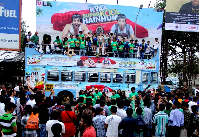 A promotional road show for Kyaa Super Kool Hain Hum from Wadala to Juhu in Mumbai