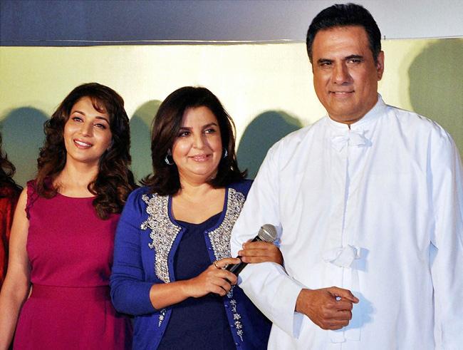 Madhuri Dixit, Farah Khan and Boman Irani