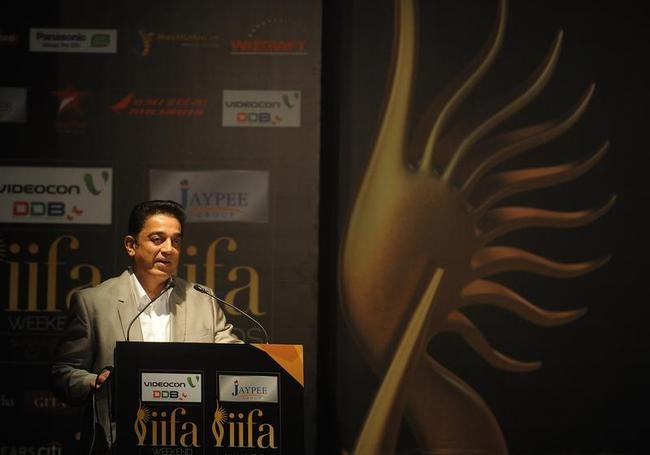 Indian film actor Kamal Haasan speaks at